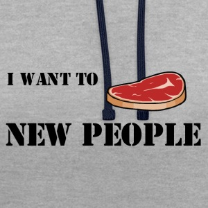 Meat new people;) - Contrast Colour Hoodie