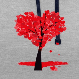 Tree in heart shape - Contrast Colour Hoodie