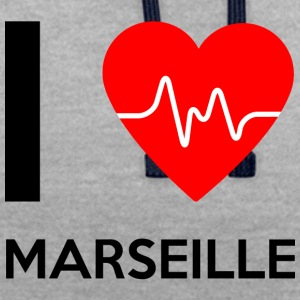 J'aime Marseille - I love Marseille - Sweat-shirt contraste