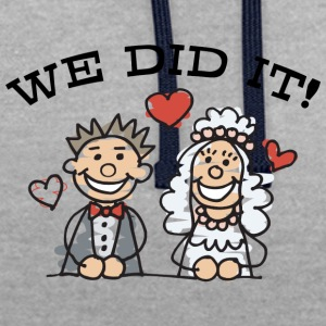 Just Married We Did It - Contrast Colour Hoodie