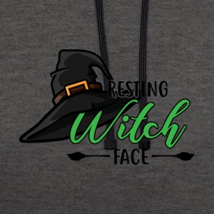 Halloween Resting Witch Face - Contrast Colour Hoodie