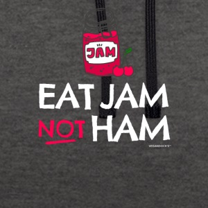 "Vegan & Vegetarian T-shirt ""Eat Jam Not Ham"" - Contrast Colour Hoodie"