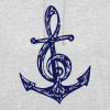Anchor, music note, bass, clef, musician, sailing, - Unisex Hoodie