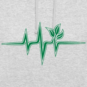Plant frequency, pulse, heartbeat, green, vegan - Unisex Hoodie