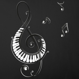 Clef with piano and music notes, i love music.