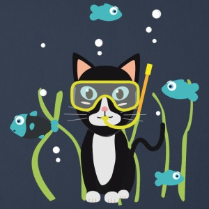 Underwater diving cat with fish