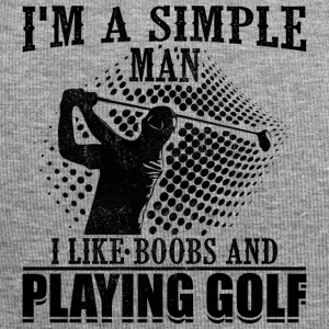 Simple man like boobs and playing golf - Jersey Beanie