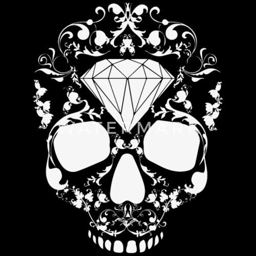 Diseño. delante. Diseño. delante. Diseño. Diseño. delante. Tattoo Gorras y  gorros - Cabeza Cráneo floral diamante Hipster Swag de Blanca - Beanie negro c91945a5186