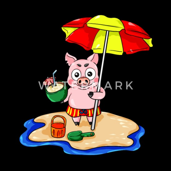 Piggy Sur La Plage Avec Dessin Animé De Vacances Cocktail
