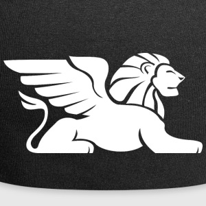 laying lion with wings white - Jersey Beanie
