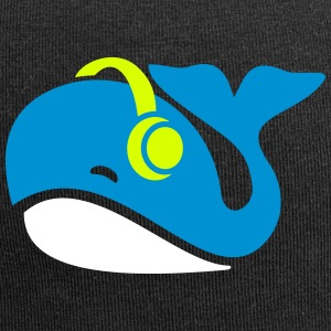 Whale with headphones - gift - Jersey Beanie