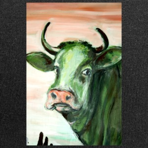 green cow portrait acrylic painting expressionistic - Jersey Beanie