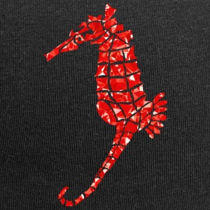 Seahorse - mosaic - red - Jersey Beanie