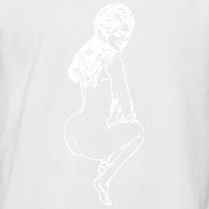 Dessin femme nue accroupie - T-shirt baseball manches courtes Homme