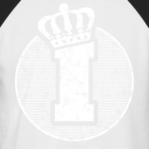 Stylish letter I with crown - Men's Baseball T-Shirt