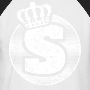 Stylish letter S with crown - Men's Baseball T-Shirt