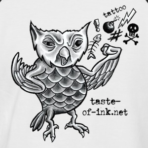 Grumpy owl button of ink tattoo - Men's Baseball T-Shirt