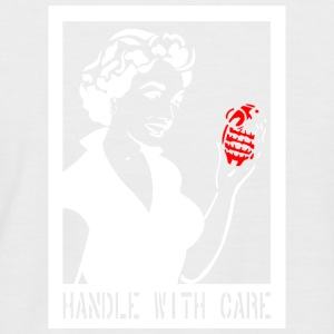 Handle with care in het wit - Mannen baseballshirt korte mouw