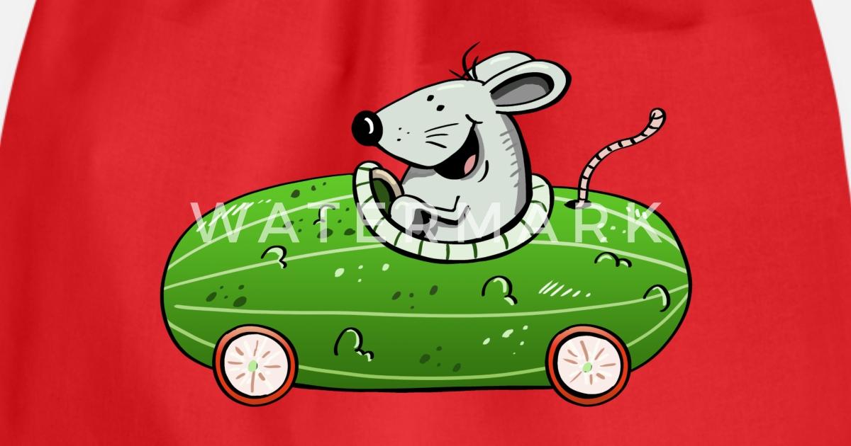 Maus Fährt Ne Olle Gurke Auto Autos Lustig Turnbeutel Spreadshirt