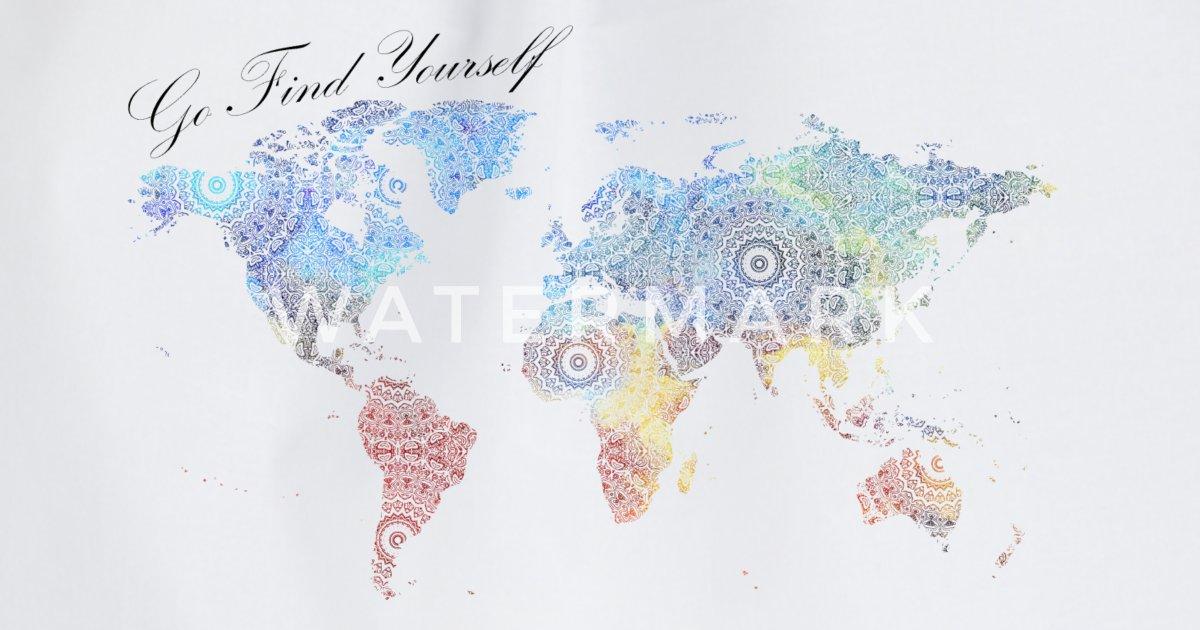 Go Find Yourself Weltkarte Mit Mandala Turnbeutel Spreadshirt