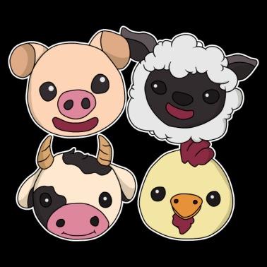 Vert de cour de ferme animal Dribble Bib foulard bandana cochon mouton poulet vache