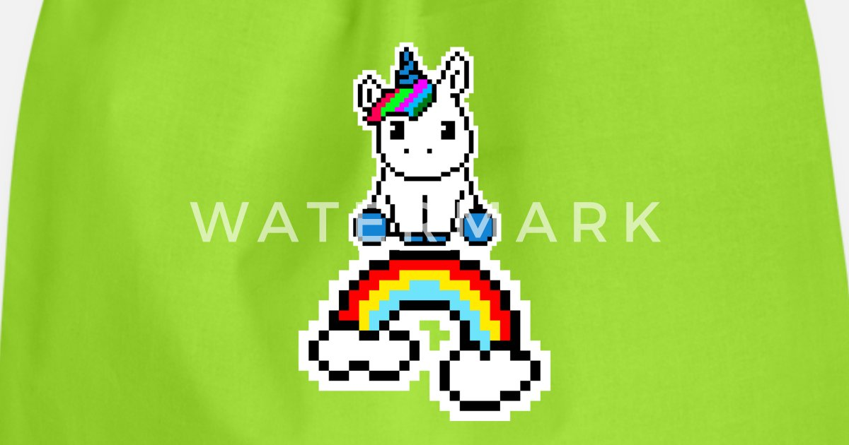 Licorne Avec Arc En Ciel Pixel Pixelart Sac à Dos Cordon Spreadshirt