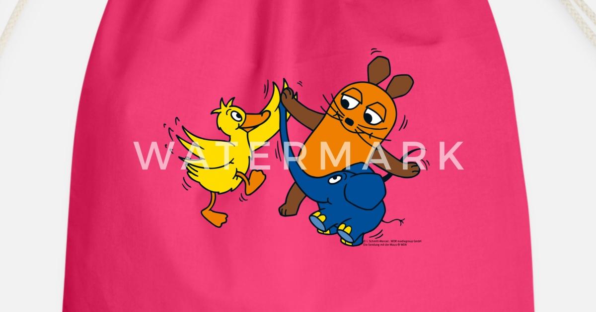 maus elefant und ente highfive turnbeutel  spreadshirt