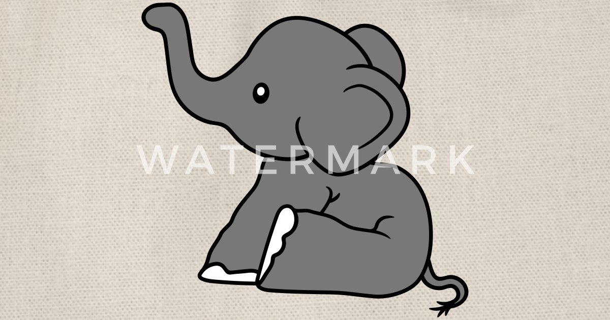 Elefant Sitzend Suess Kalb Klein Kind Baby Clipart Turnbeutel Spreadshirt