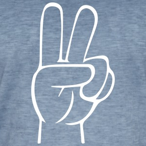 PeaceHand Outline White - Mannen Vintage T-shirt