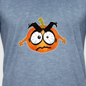 Pumpkin Glad Thanksgiving T-shirt emoji tegneserie wit - Herre vintage T-shirt