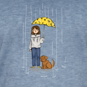 Girl with dog in rain - T-shirt vintage Homme