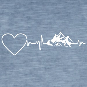 Mountains Heartbeat 2 - Mannen Vintage T-shirt