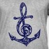 Anchor, music note, bass, clef, musician, sailing, - Men's Vintage T-Shirt