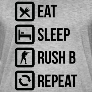 Eat, Sleep, Rush B and repeat! - Mannen Vintage T-shirt