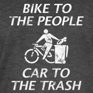 BIKE TO THE PEOPLE CAR TO THE TRASH WHITE - Men's Vintage T-Shirt