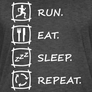 Logo RUN EAT SLEEP REPEAT in weiß - Männer Vintage T-Shirt