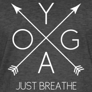 YOGA Just Breathe blanc - T-shirt vintage Homme