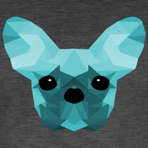 French Bulldog Low Poly Design cyan - Vintage-T-skjorte for menn