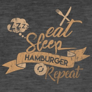 EAT SLEEP HAMBURGER REPEAT - T-shirt vintage Homme