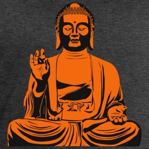 Buddha statue or sculpture in orange / black - Men's Organic Sweatshirt by Stanley & Stella