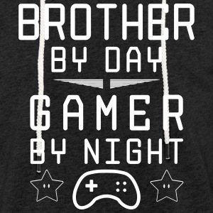 brother by day gamer by night - Leichtes Kapuzensweatshirt Unisex