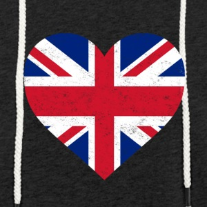 UK Flag Shirt Heart - Brittish Shirt - Let sweatshirt med hætte, unisex