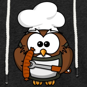 Owl on grill with food comic style - Light Unisex Sweatshirt Hoodie