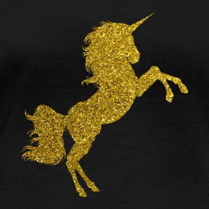 Golden Unicorn - Golden Unicorn Gold Glitter - Langarmet øko-T-skjorte for kvinner