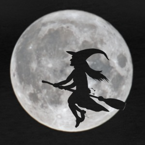 Flying witch in front of moon - Women's Organic Longsleeve Shirt by Stanley & Stella