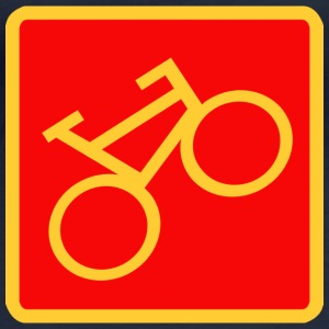 Sign «Bicycle», yellow on a red background - Women's Organic Longsleeve Shirt by Stanley & Stella