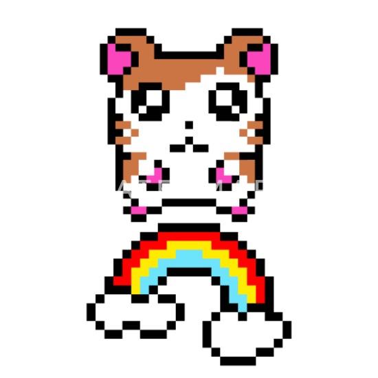 Hamster Avec Arc En Ciel Pixel Pixelart Womens Polo Shirt Blanc