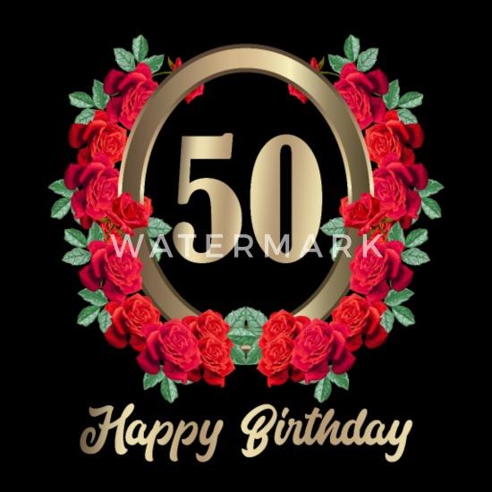50e Verjaardag 50 Jaar Rozen Bloemen Verjaardag Vrouwen