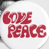 Love Peace seventies 70s retro style flower power - Badge moyen 32 mm