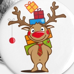 A reindeer with gifts and a Christmas ball